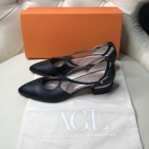 AGL Black Crisscross Strap Silver Trim Low Heels